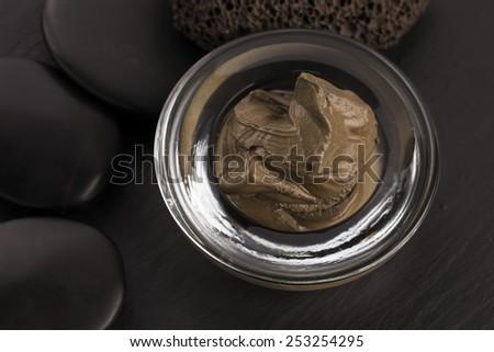 Dead Sea mud in a bowl - stock photo