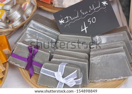 Dead sea mud soaps - stock photo