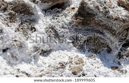 dead sea salt at Jordan  - stock photo