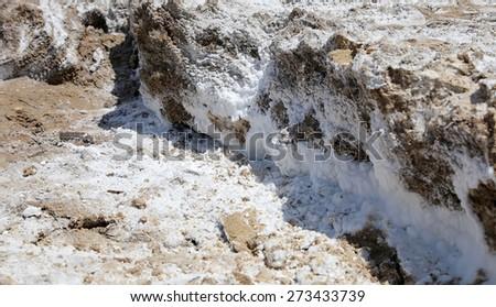 dead sea salt at Jordan, Middle East  - stock photo