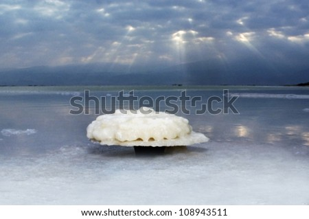 Dead Sea salt crystals natural mineral formation at the Dead Sea, Israel.  - stock photo