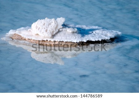 Dead Sea salt crystals natural mineral formation on a rock at the Dead sea, Israel. - stock photo