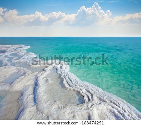 Dead sea salt shore - stock photo
