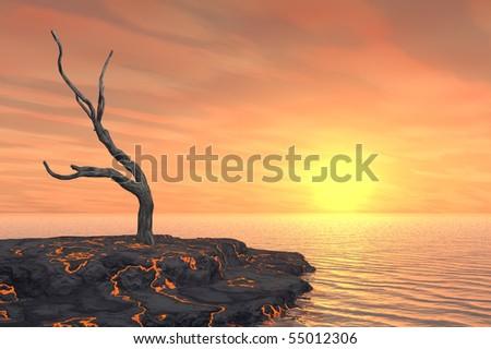 Dead tree on hot lava island with orange sunset. - stock photo