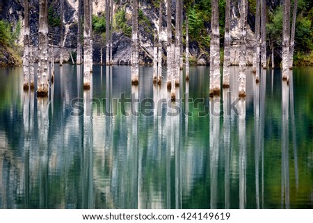 Dead trees in Lake Kaindy, Tien-Shan mountains, Kazakhstan, Central Asia - stock photo