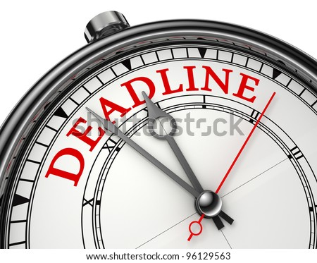 deadline concept clock closeup isolated on white background with clipping path