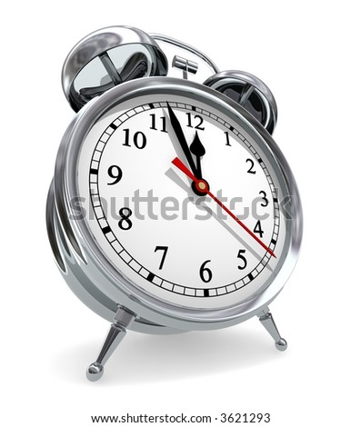 Deadline Countdown (3D rendered vintage alarm clock) - stock photo