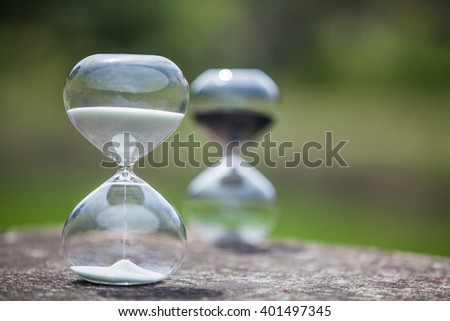 Deadline symbol with hourglass competition. Concept of time, pressure and countdown. - stock photo