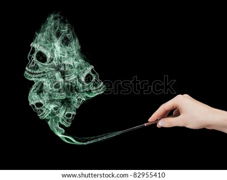 Deadly course created by dark mage. - stock photo
