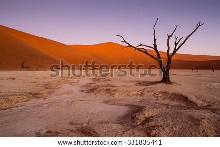 Deadvlei dune landscape in dusk in Namibia - stock photo