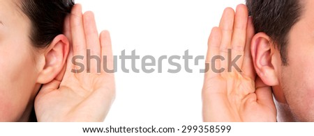 Deaf woman and man ear - stock photo