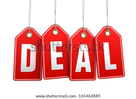 deal hanging shopping tags