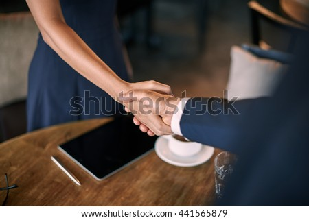 Deal in cafe - stock photo