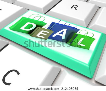 Deal On Computer Key Showing Bargains And Promotion - stock photo