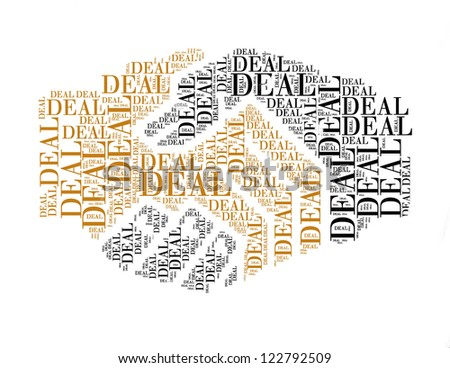 deal text collage Composed in the shape of handshake an isolated on white - stock photo