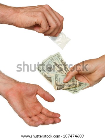 Dealer (man) selling cocaine drugs bag to a paying woman, isolated on white - stock photo