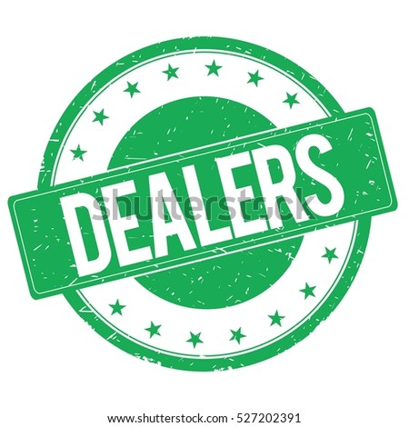 DEALERS stamp sign text word logo green.