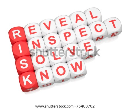 Dealing with risk steps composed of dice 3d render - stock photo