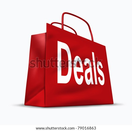 Deals and bargains shopping symbol represented by a red bag showing the concept of special prices for goods and services that are on sale or discounted at stores and malls. - stock photo