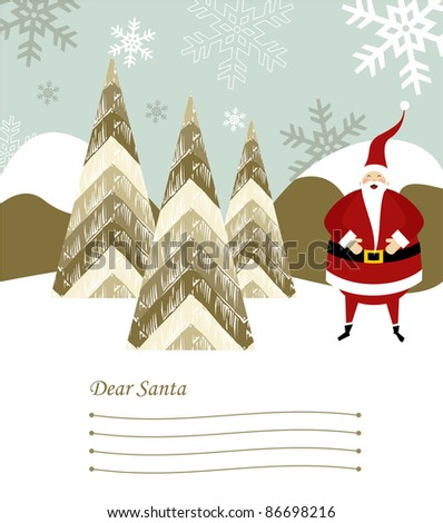 Dear Santa blank lines to write the Christmas gifts with santa claus illustration on snowy background. Vector file available. - stock photo