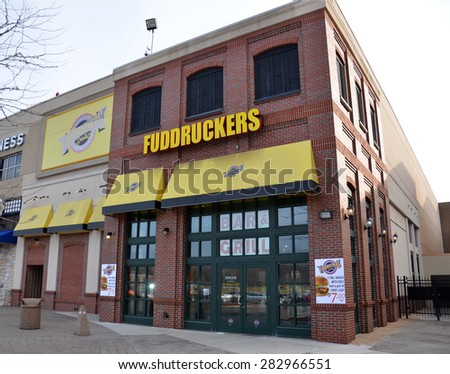 DEARBORN, MI - DECEMBER 21:  Fuddruckers, whose Fairlane Mall store is shown on December 21, 2014, has over 170 restaurants. - stock photo