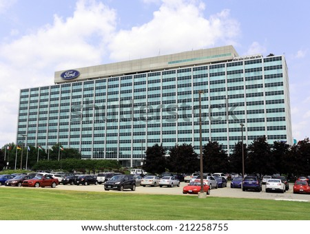 DEARBORN, MI  JULY 31: The Ford Motor Company World Headquarters building located in Dearborn, Michigan on July 31, 2014. Ford Motor Company is an American multinational automobile corporation. - stock photo