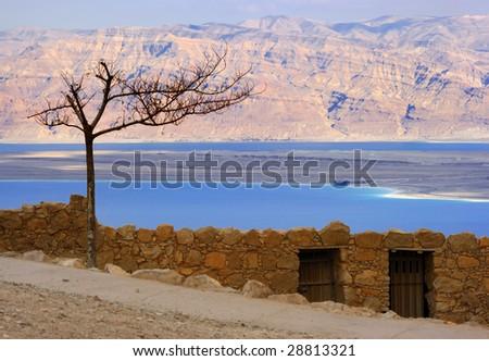 Deat sea view of ancient city Masada - stock photo