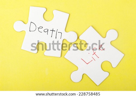 Death and Life words written on two pieces of jigsaw puzzle - stock photo