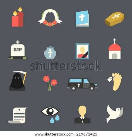 Death and mourning for deceased ritual church funeral ceremony tombstone candles flat icons set  isolated illustration - stock photo