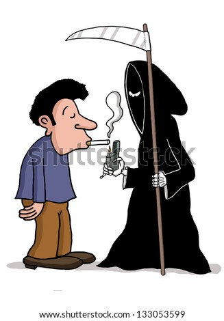 Death angel is lighting a man's cigarette - stock photo