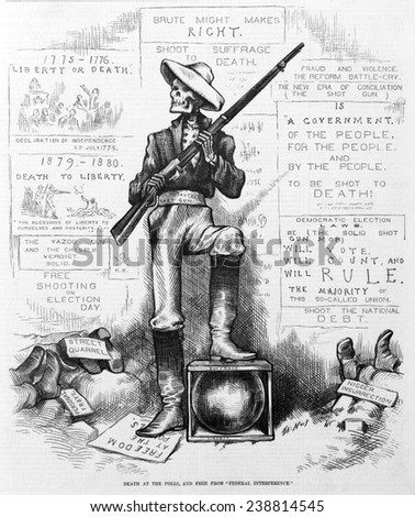 Death at the polls, and free from 'federal interference'. Skeleton 'solid Southern shot gun' holding shotgun at polls, to prevent African Americans from voting. Thomas Nast, artist. Woodcut, 1868 - stock photo