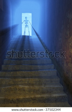 Death beckons you to step through the doorway into the the afterlife - 3d render. - stock photo