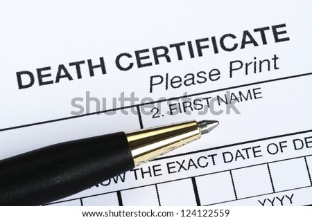 Death certificate - stock photo