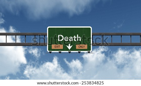 Death Exit Only Highway Road Sign Concept 3D Illustration - stock photo