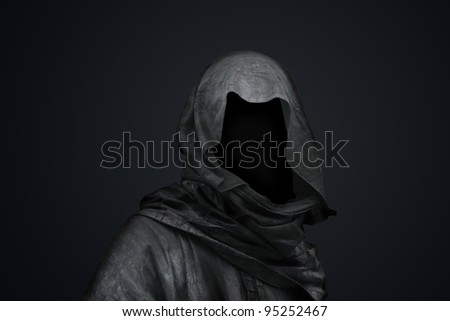 Death in the hood concept. Halloween character. Diablo. - stock photo