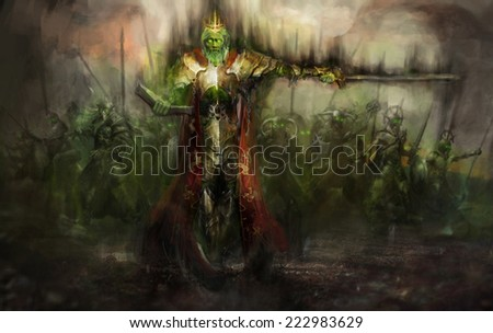death king leading his army - stock photo