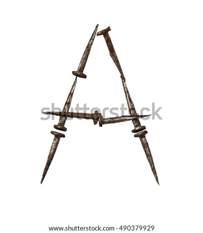 Death nails font. Symbols made from old rusty nails. Isolated on white. A