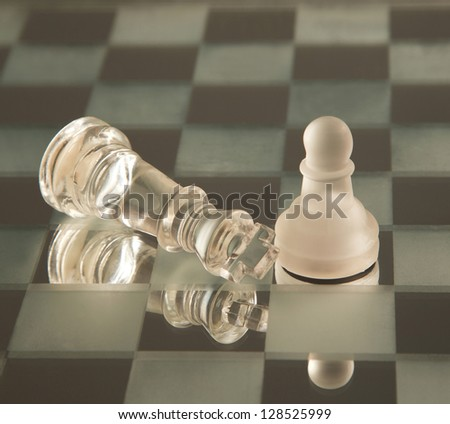 Death of king. Chessmen. Any pawn wants to be king - stock photo
