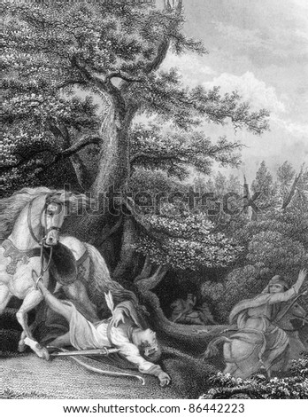 Death of William Rufus during a hunting trip in the New Forest. Engraved by J.Rogers and published in England's Battles by Sea and Land, United Kingdom, 1857.
