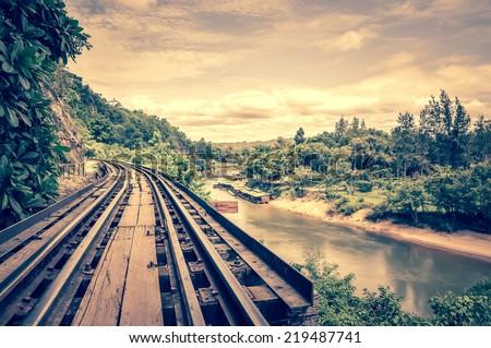 death railway along Kwai river - stock photo