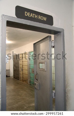 death row sign and a cell block at a prison - stock photo