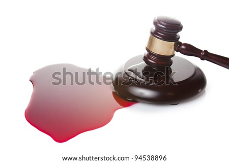 death sentence or injustice concept with juge gavel and blood - stock photo
