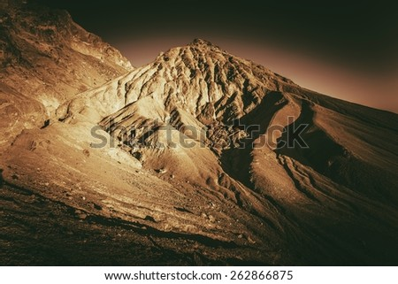 Death Valley Formations in Sepia Color Grading. California, United States. - stock photo