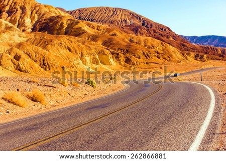 Death Valley Highway, California United States. Death Valley Raw Landscape. - stock photo