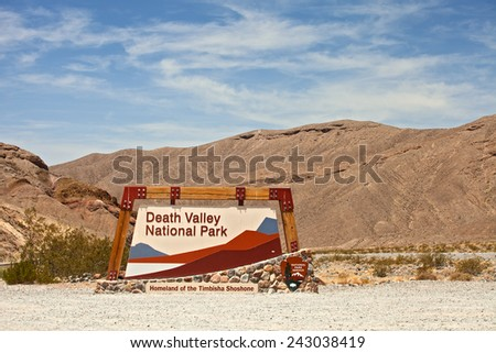 Death Valley National park, California USA entrance sign - stock photo