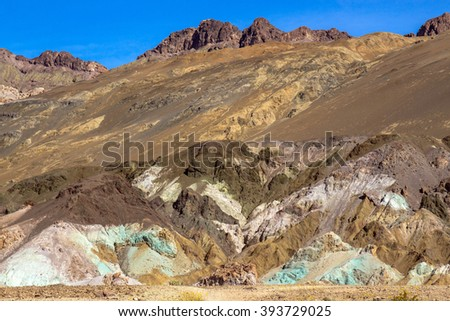 "Death Valley National Park colored rock cliffs ""Artist Palette"" - stock photo"