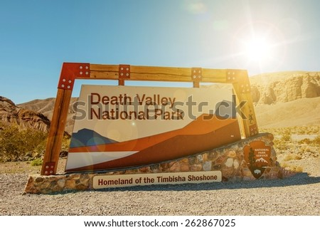 Death Valley National Park Entrance Sign. Homeland of the Timbisha Shoshone. Death Valley, California, United States. National Park Service. - stock photo