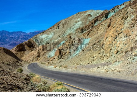 Death Valley National Park scenic Artist Drive - stock photo