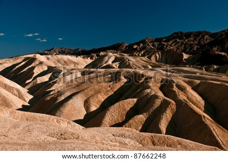 Death Valley's Zabriskie point with shadow and side light detail - stock photo