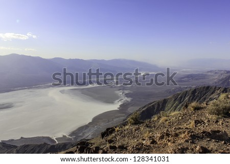Death Valley Salt Lake viewed from high above and stretching far into the distance - stock photo